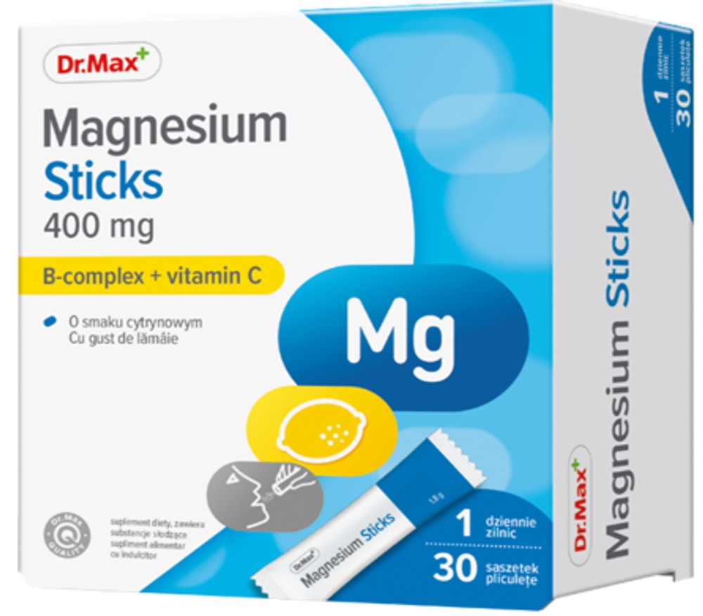 Dr.Max Magnesium Sticks 400 mg, 30 pliculete orodispersabile imagine produs 2021