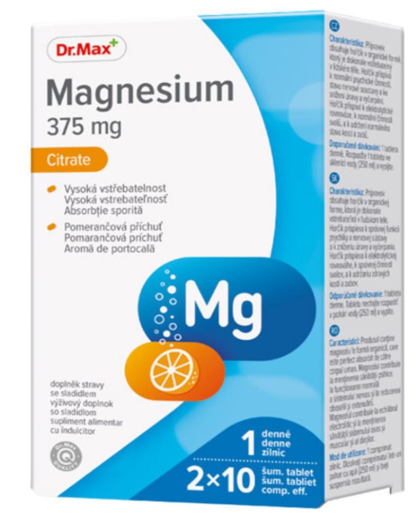 Dr.Max Magnesium Citrate 375mg 20cpr efervescente imagine produs 2021