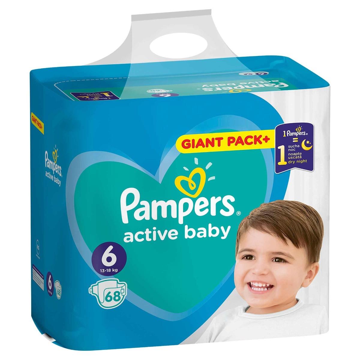 Scutece Active Baby marimea 6 pentru 13-18kg, 68 bucati, Pampers