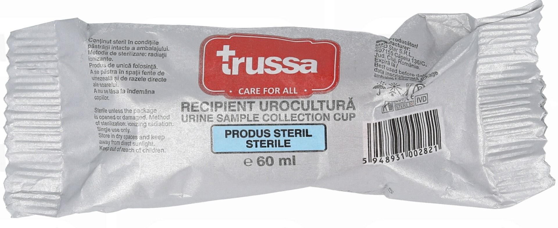 Recipient urocultura steril, 60 ml, Trussa drmax poza