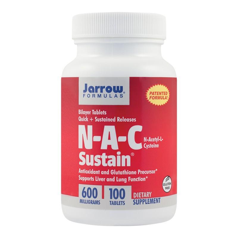 N-A-C Sustain 600mg Jarrow Formulas, 100 tablete, Secom imagine produs 2021