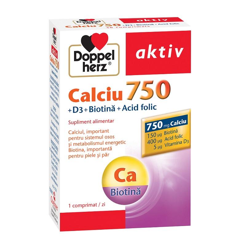 Calciu 750 Vitamina D3 Biotina Acid Folic, 30 comprimate, Doppelherz imagine produs 2021