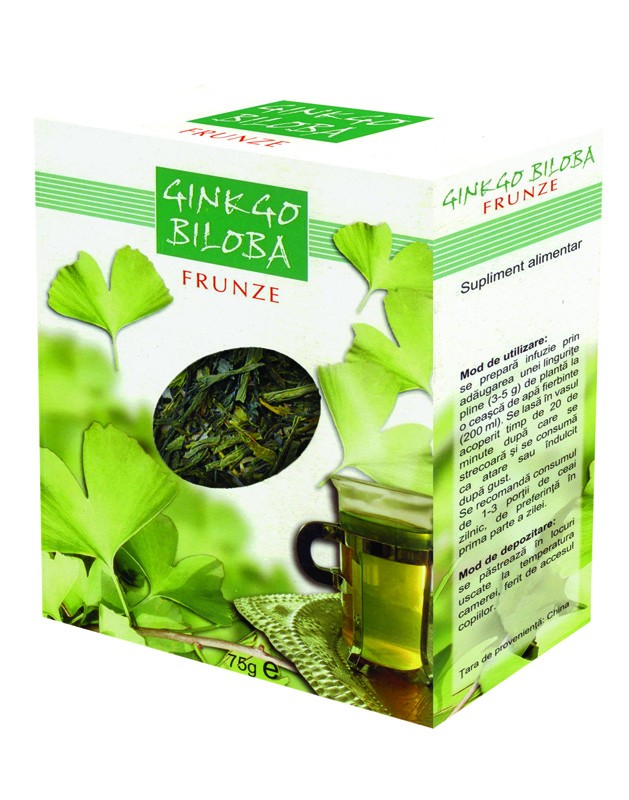 Ceai Ginkgo Biloba frunze, 75g, Parapharm imagine produs 2021