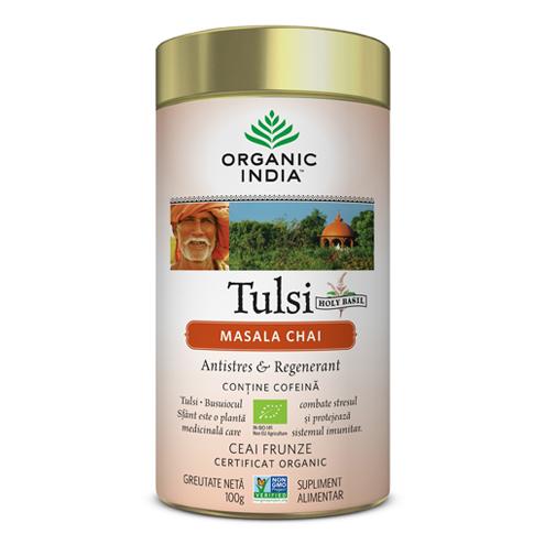 Tulsi Masala Chai Relaxant si Regenerant, 100g, Organic India drmax.ro
