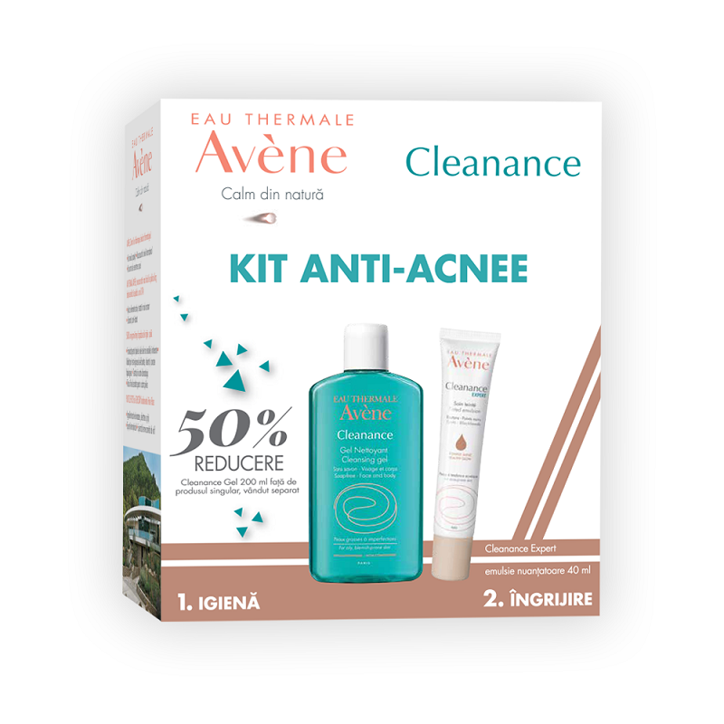 Pachet Cleanance Expert Emulsie Nuantatoare 40ml + Cleanance Gel 200ml cu 50% reducere, Avene