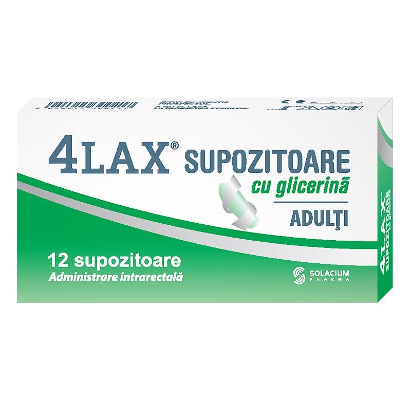 Supozitoare cu glicerina pentru adulti 4Lax, 12 bucati, Solacium imagine produs 2021