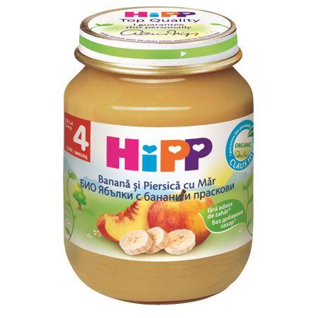 Piure de mere, banane și piersici, +4 luni, 125 g, Hipp