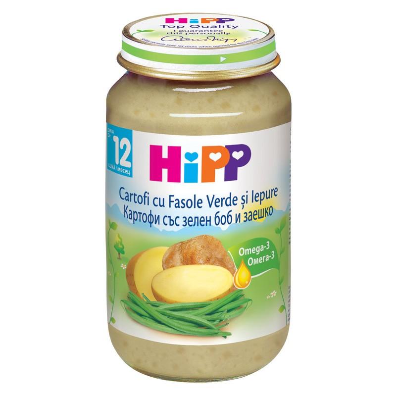 Piure de iepure cu cartofi și fasole verde, +12 luni, 220 g, Hipp drmax.ro