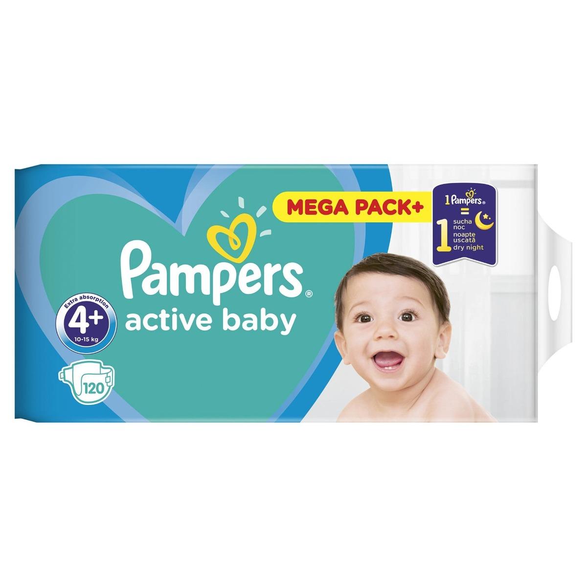 Scutece Active Baby Dry masura 4 pentru 9-16kg, 120 bucati, Pampers