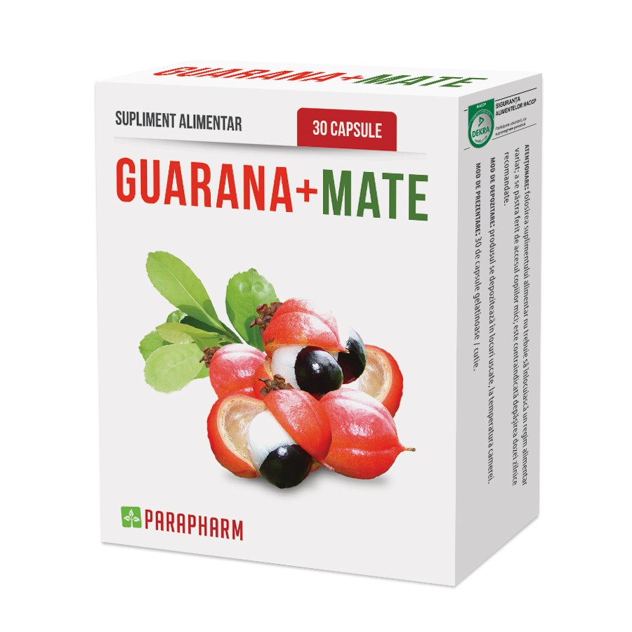 Guarana + Mate, 30 capsule, Parapharm imagine produs 2021