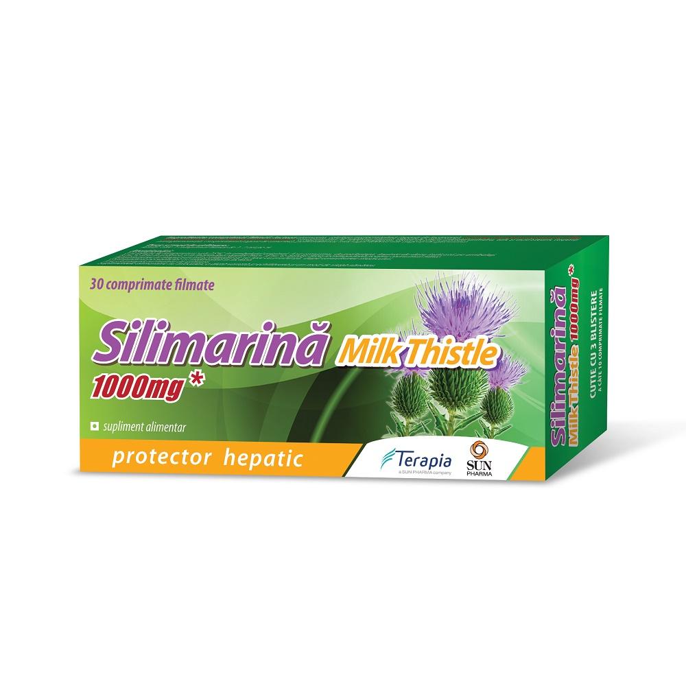Silimarina Milk Thistle 1000mg, 30 comprimate, Terapia drmax.ro