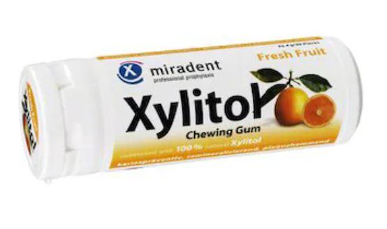 Guma de mestecat Fresh Fruit Xylitol, 30 bucati, Miradent drmax.ro