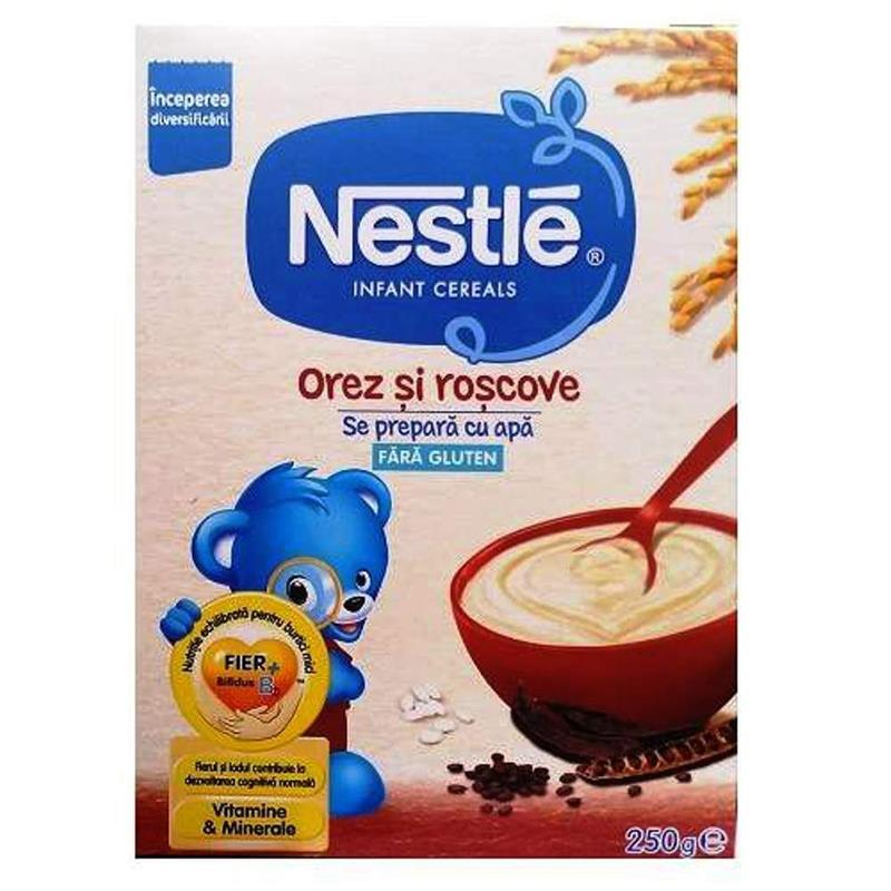 Cereale pe baza de orez si roscove, incepand de la 6 luni, 250 g, Nestle drmax poza