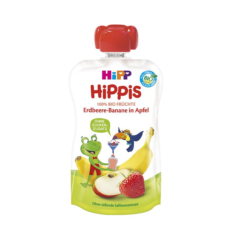 Piure de fructe, capsuni banana si mar, incepand de la 12 luni, 100 g, HiPP