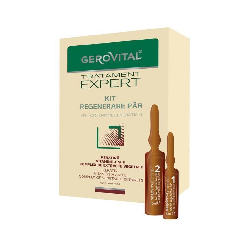 Kit tratament regenerare par Tratament Expert, 10 fiole x 10ml, Gerovital drmax.ro