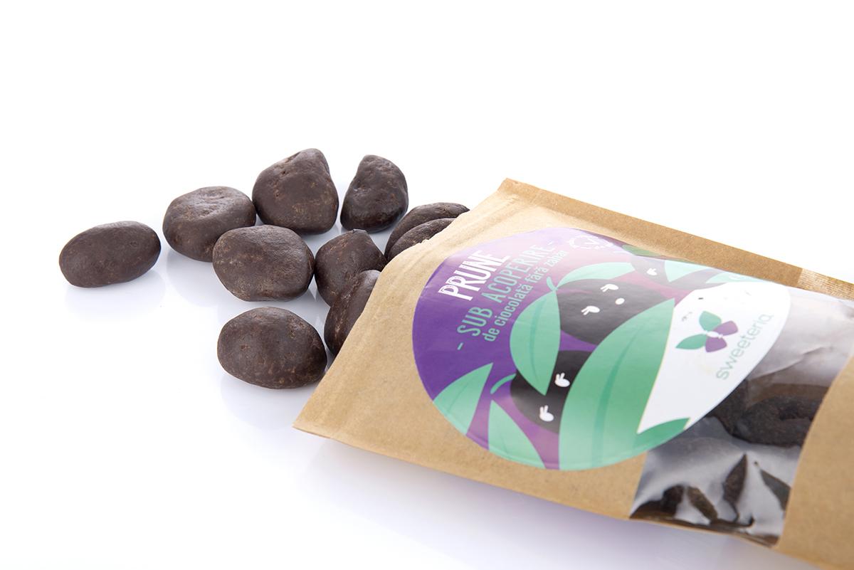 Prune in ciocolata fara zahar, 250g, Sweeteria drmax.ro