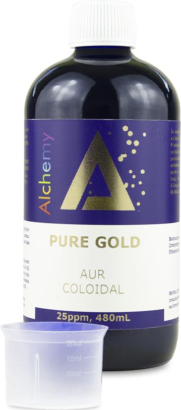 Aur coloidal PureGold 25 ppm, 480ml, Aghoras drmax.ro