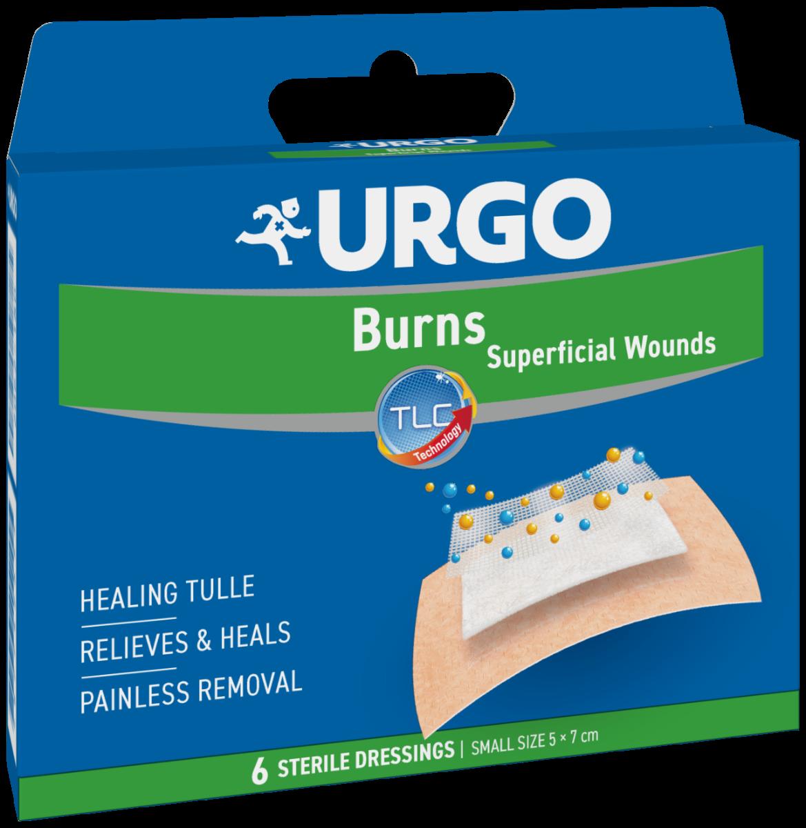 Plasturi mici pentru arsuri si rani superficiale, 5x7 cm, 6 bucati, Urgo imagine produs 2021