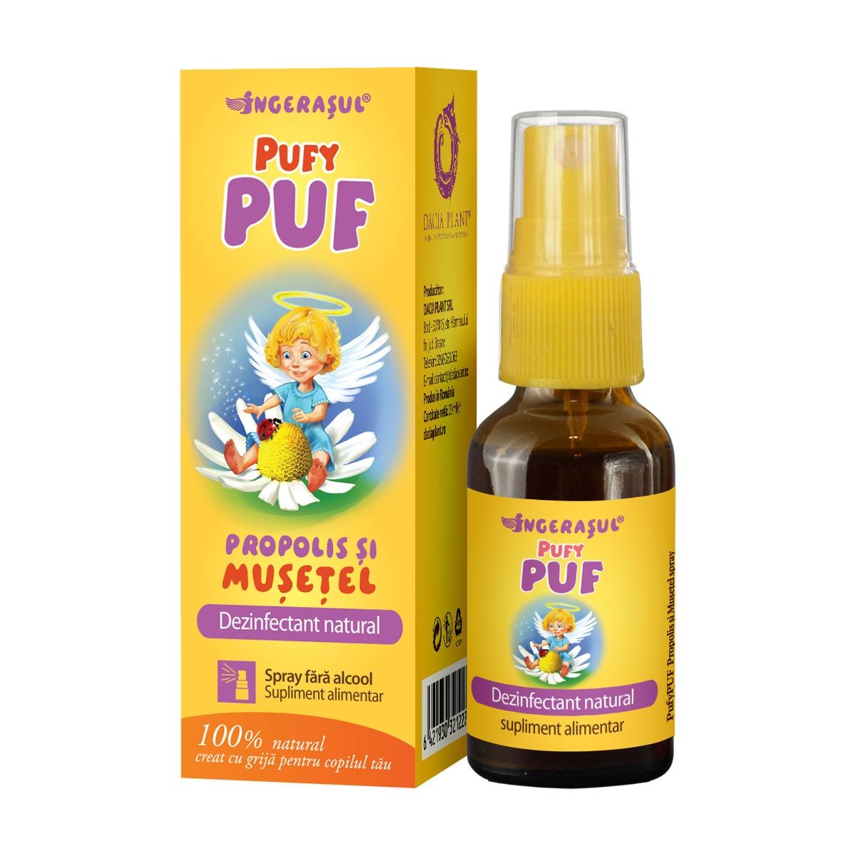 PufyPuf spray propolis si musetel, 20 ml, Dacia Plant