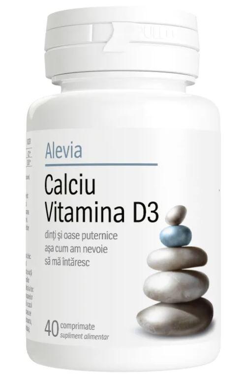 Calciu Vitamina D3, 40 comprimate, Alevia drmax.ro