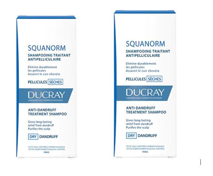 Pachet Sampon tratament anti-matreata uscata Squanorm 200ml 1 + 50% reducere la al doilea, Ducray