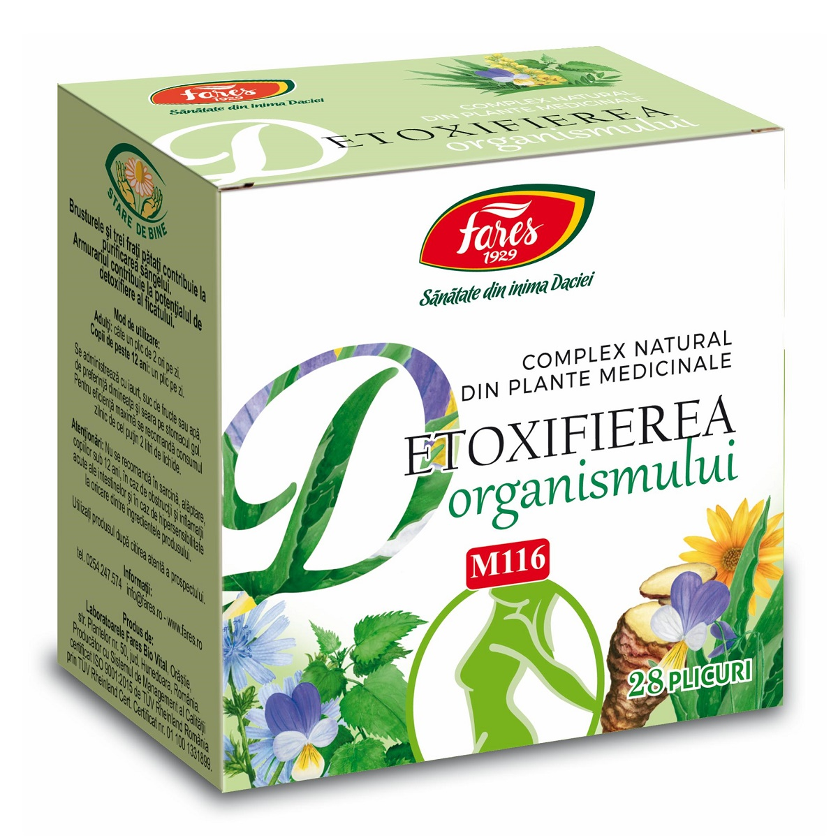 Detoxifierea organismului M116, 28 plicuri, Fares drmax.ro