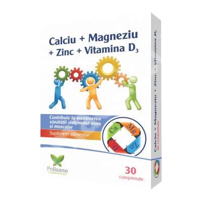 Calciu + Magneziu + Zinc + Vitamina D3, 30 comprimate, Polisano drmax.ro