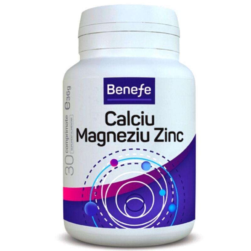 Calciu magneziu zinc Benefe, 30 comprimate, Alevia drmax.ro