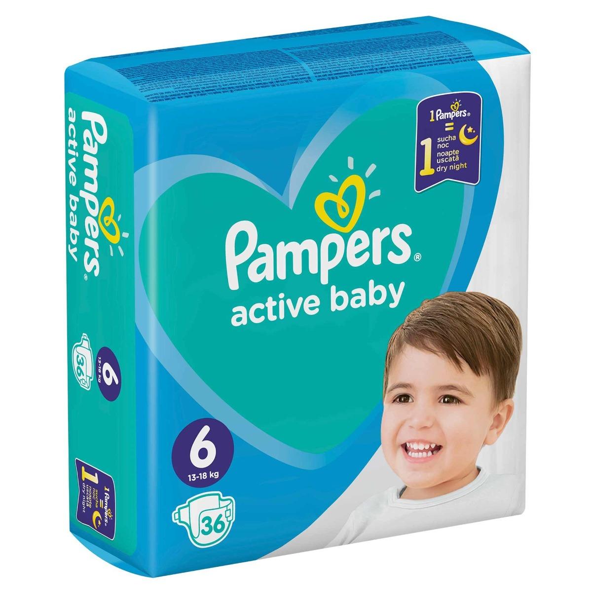 Scutece Active Baby Dry marimea 6 pentru 13-18kg, 36 bucati, Pampers drmax poza