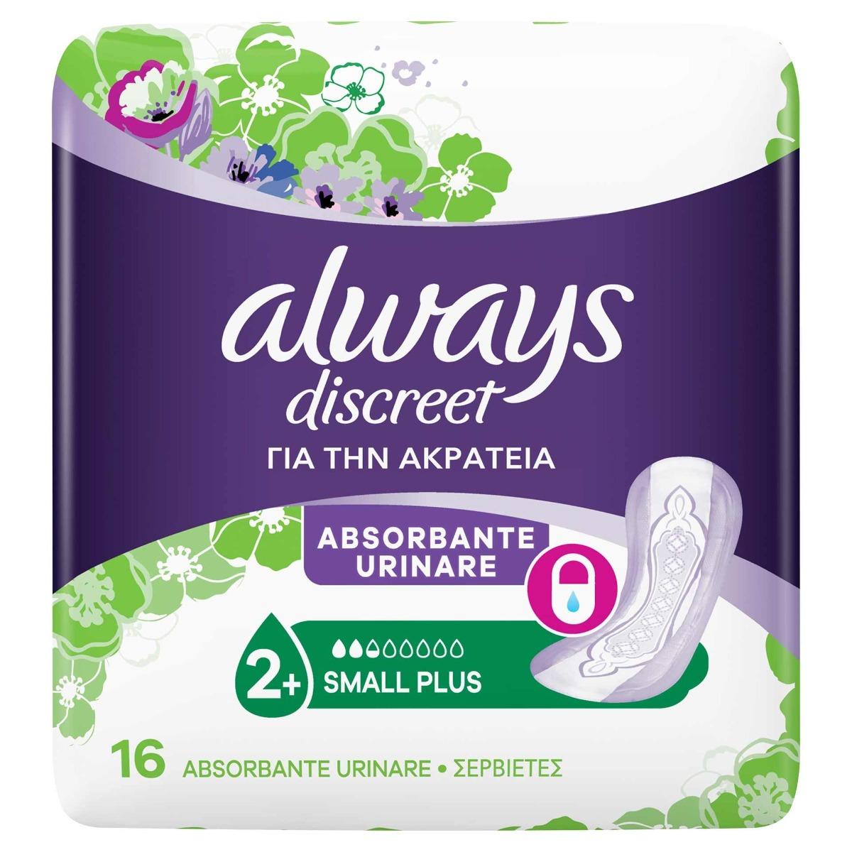 Absorbante pentru incontinenta urinara Discreet Pads Small+, 16 bucati, Always drmax poza