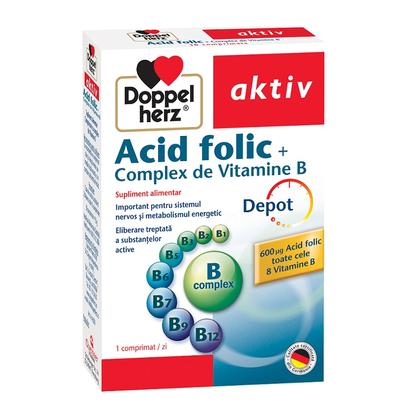 Acid Folic Complex de Vitamina B, 30 comprimate, Doppelherz drmax.ro