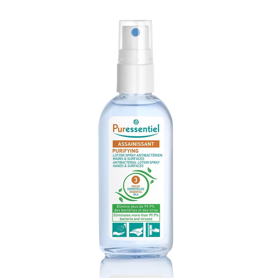 Lotiune spray antibacteriana pentru maini cu 3 uleiuri esentiale, 80ml, Puressentiel drmax poza