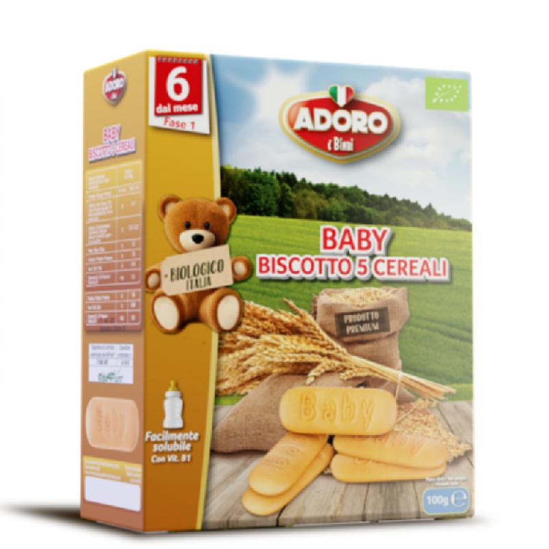 Biscuiti pentru bebelusi Bio 5 Cereale, 100g, Adoro Bimbi imagine 2021 Adoro Bimbi