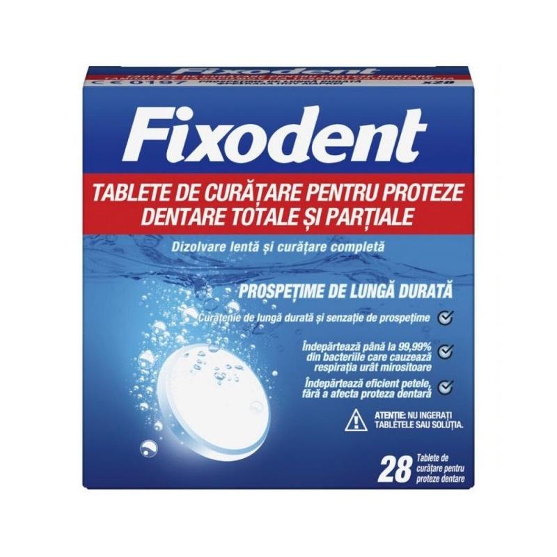 Tablete de curatare pentru proteze dentare, 28 tablete, Fixodent la preț mic imagine