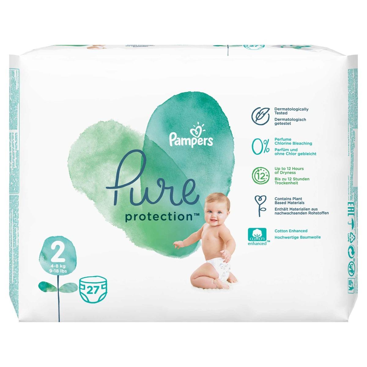 Scutece Pure Protection marimea 2 pentru 4-8kg, 27 bucati, Pampers