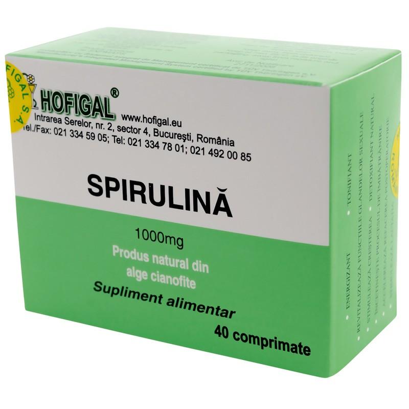 Spirulina 1000 mg, 40 comprimate, Hofigal imagine produs 2021
