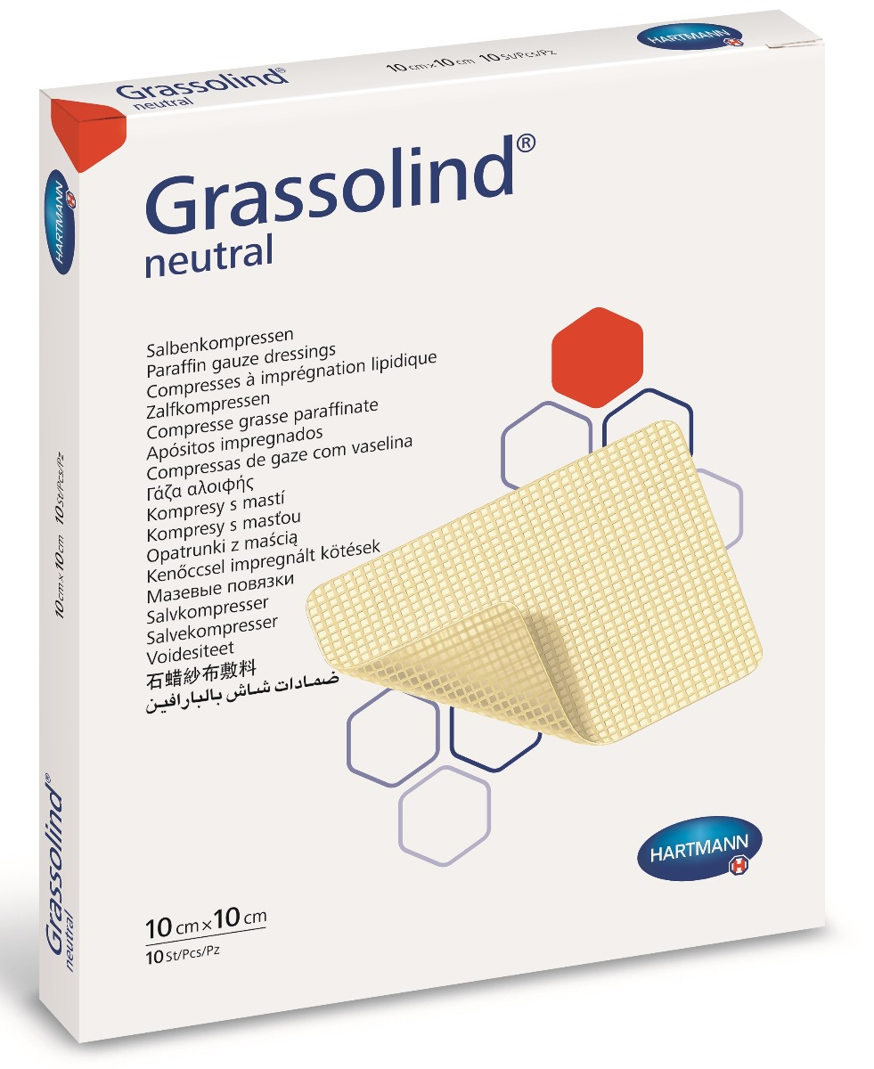 Comprese sterile, 10x10 cm, 10 bucati, Grassolind