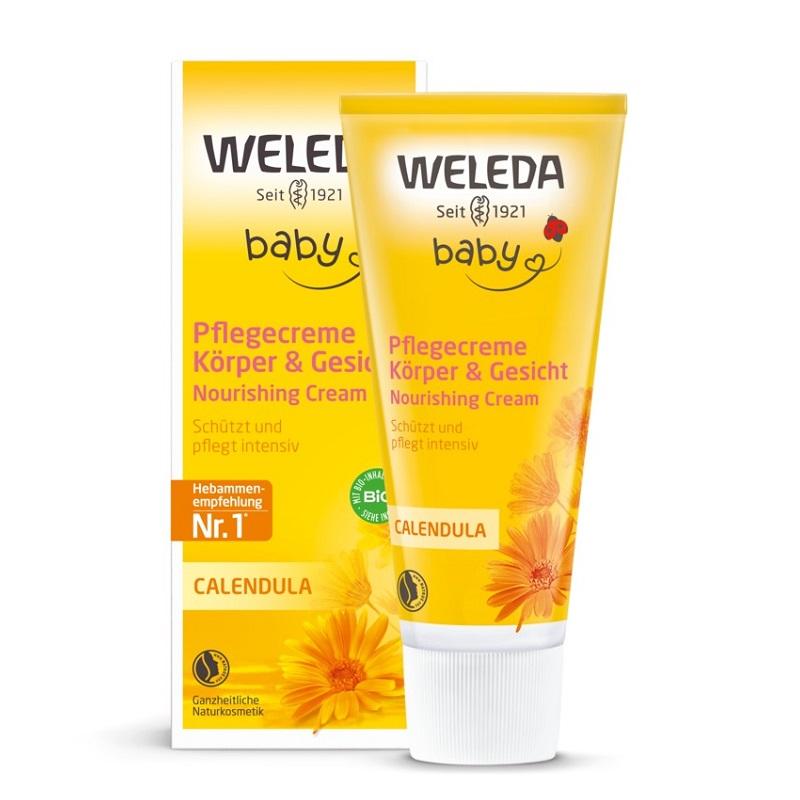 Crema de corp hidratanta Baby cu galbenele, 75ml, Weleda imagine produs 2021