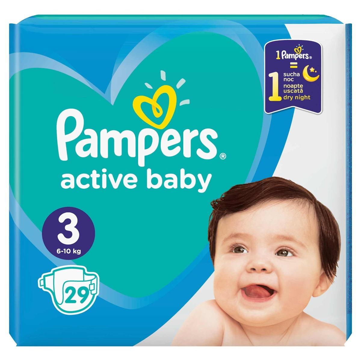 Scutece Active Baby marimea 3 pentru 6-11kg, 29 bucati, Pampers