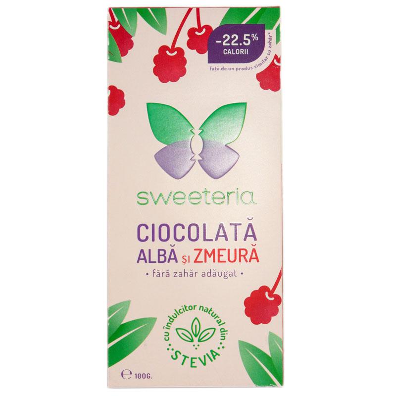 Ciocolata alba cu zmeura cu indulcitor din stevie, 100g, Sweeteria drmax.ro