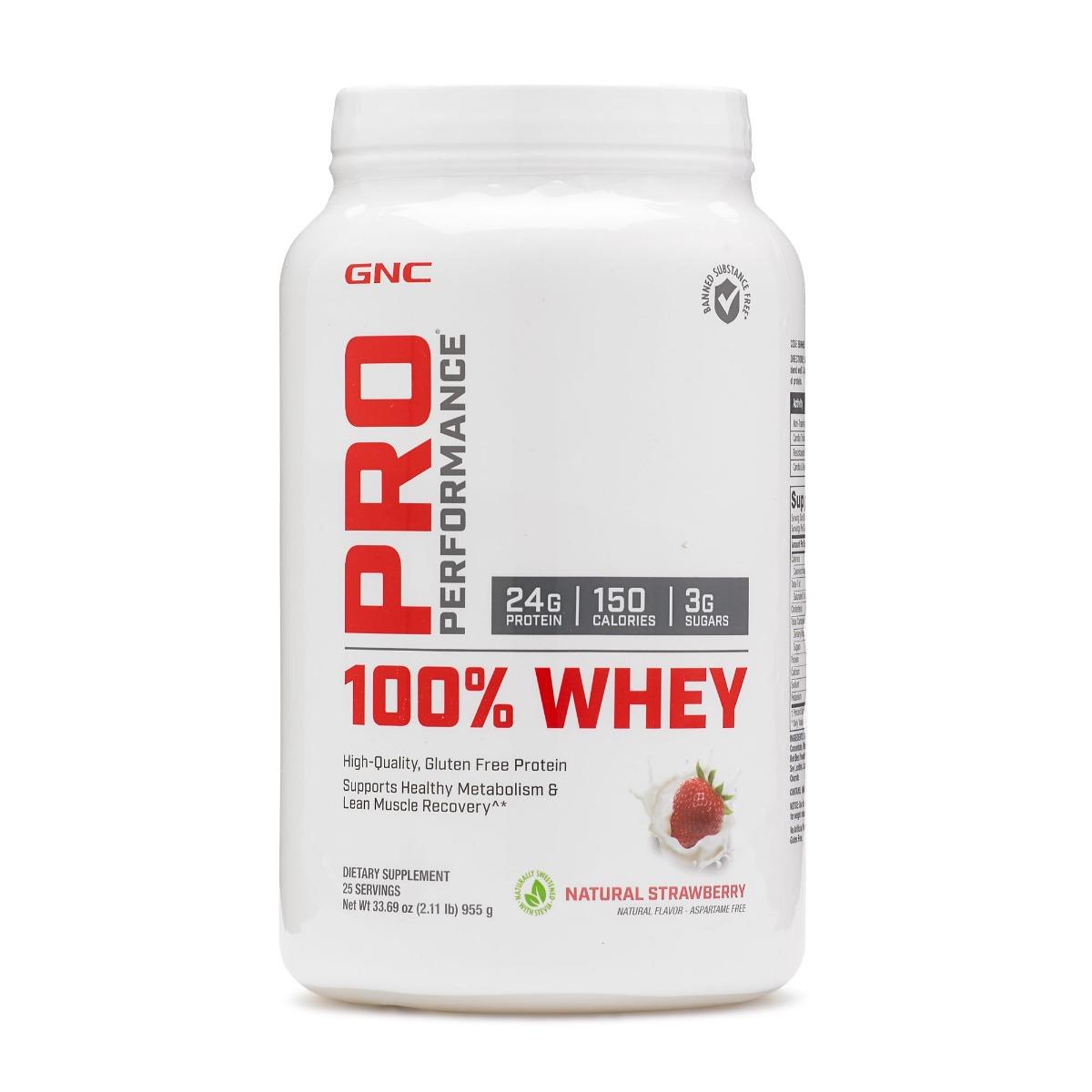 Proteina din zer cu aroma naturala de capsuni Pro Performance, 955g, GNC imagine 2021 drmax.ro