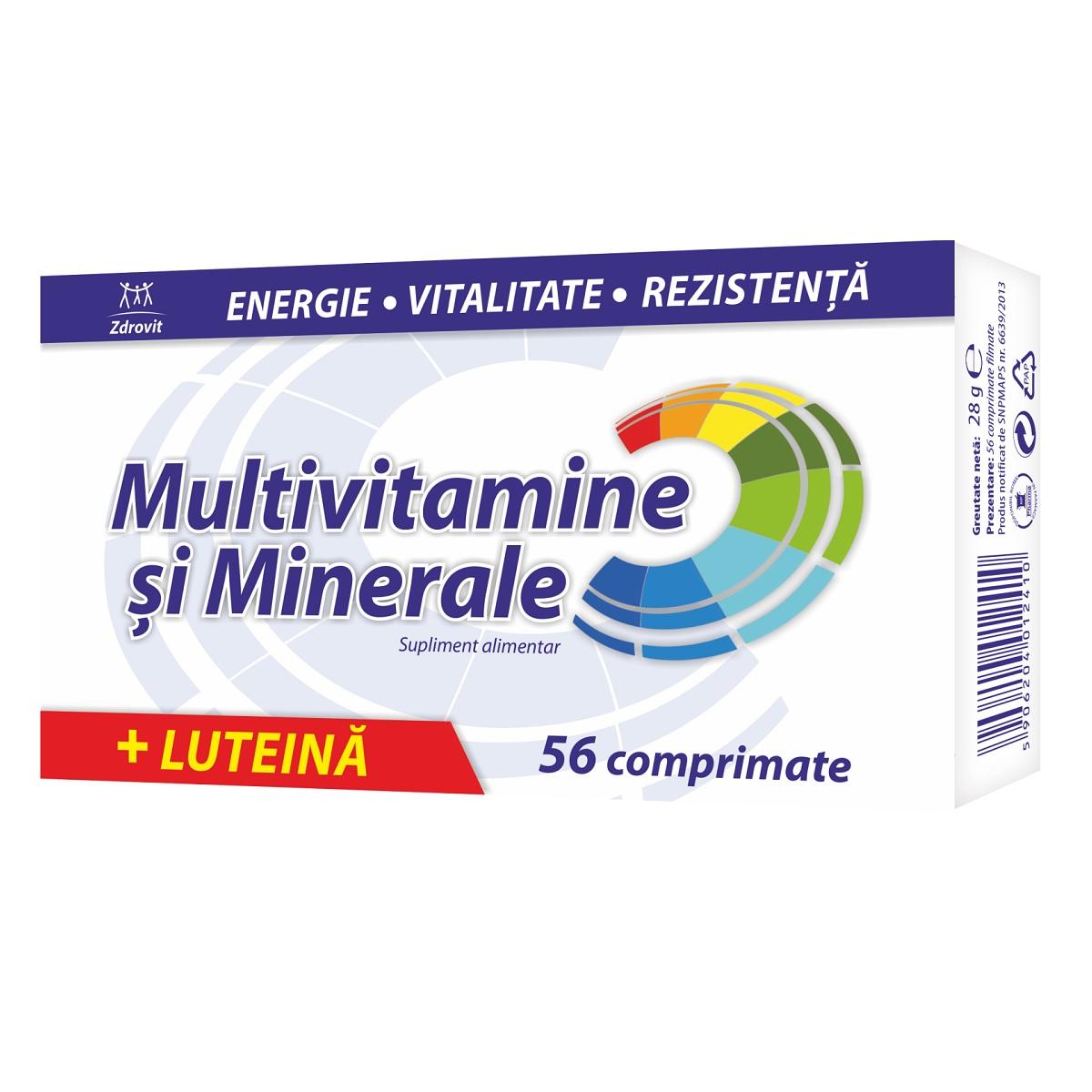 Multivitamine si minerale + Luteina, 56 comprimate Zdrovit la preț mic imagine