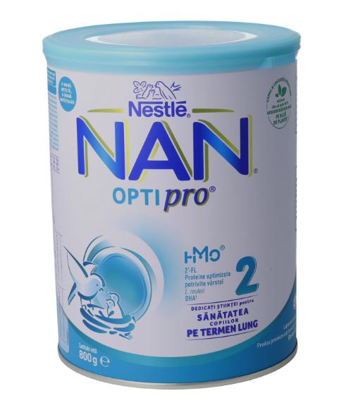Lapte praf Nan 2 Optipro, incepand de la 6 luni, 800 g, Nestle drmax.ro