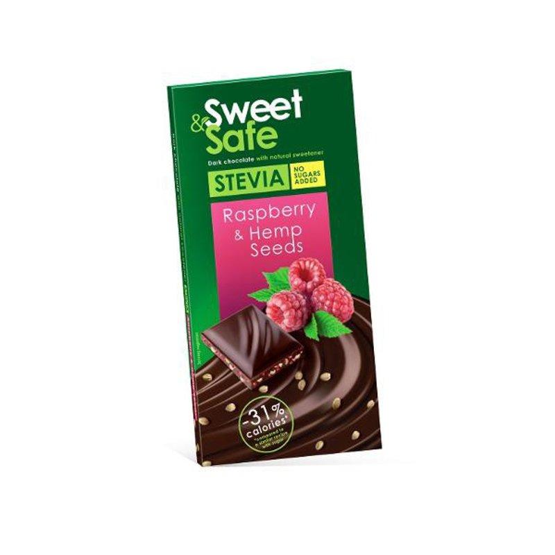 Ciocolata amaruie cu indulcitor natural de stevia Sweet&Safe, seminte de canepa, zmeura, 90 g, Sly Nutritia la preț mic imagine