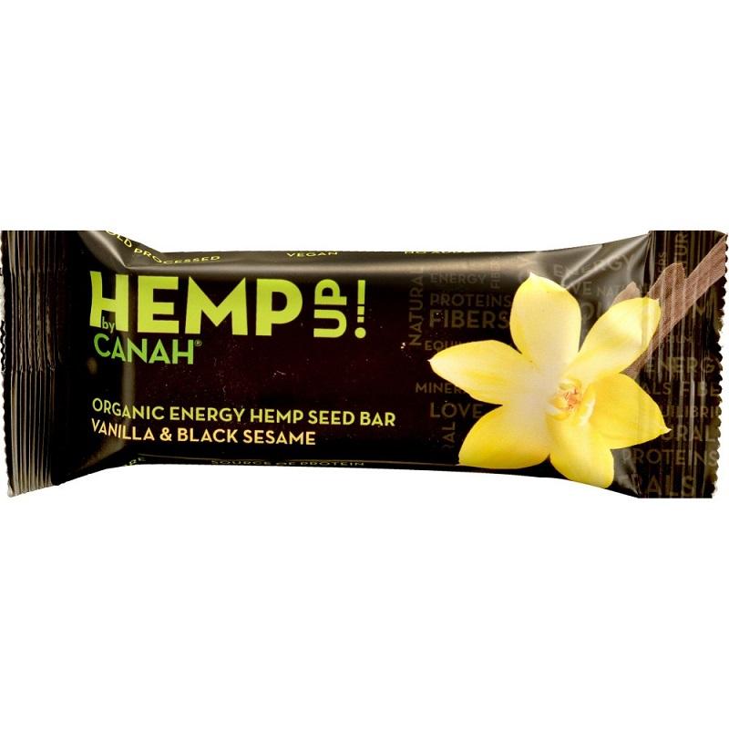 Baton din seminte de canepa cu vanilie si susan ECO, 48g, Canah drmax.ro