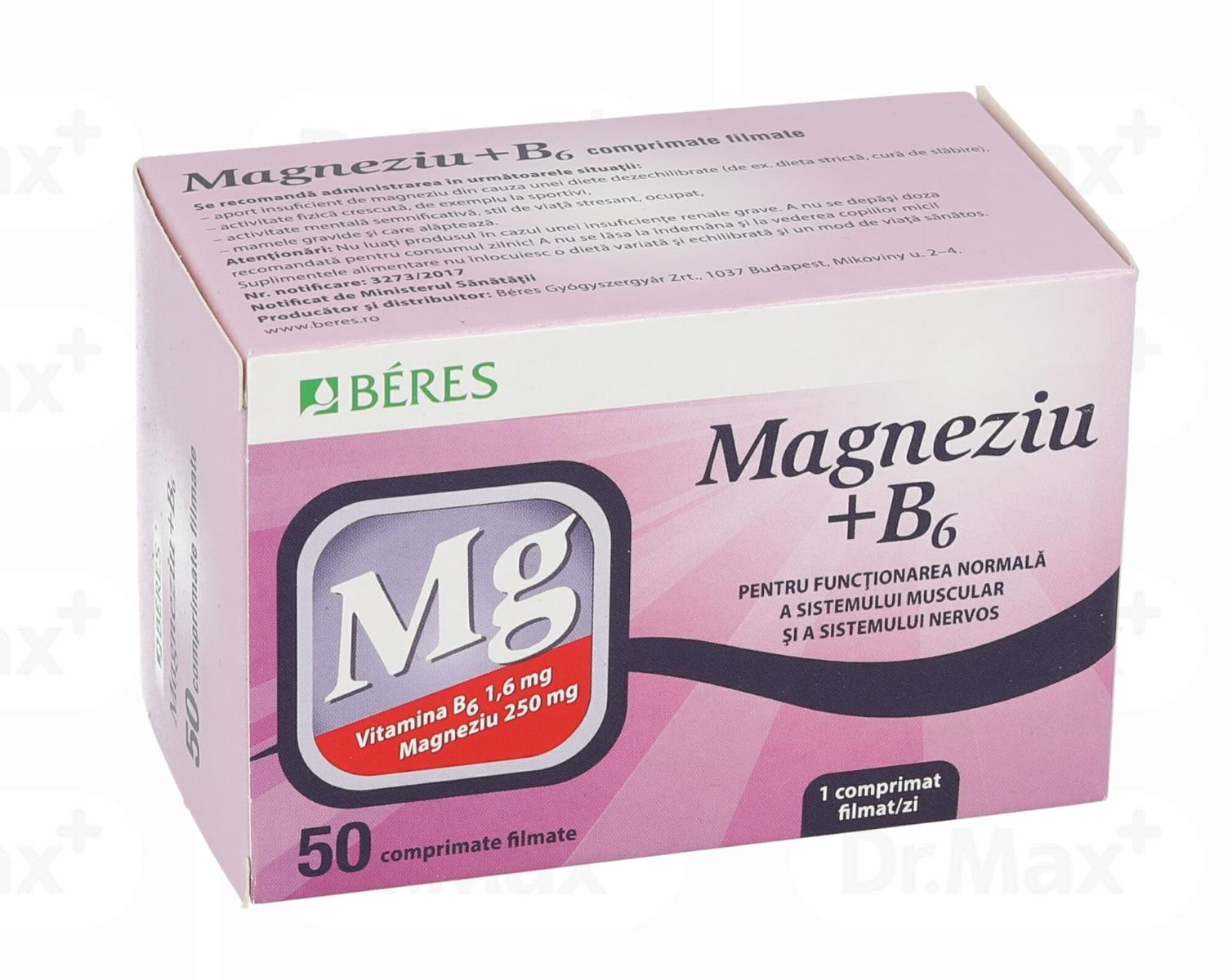 Magneziu + B6, 50 comprimate, Beres drmax.ro