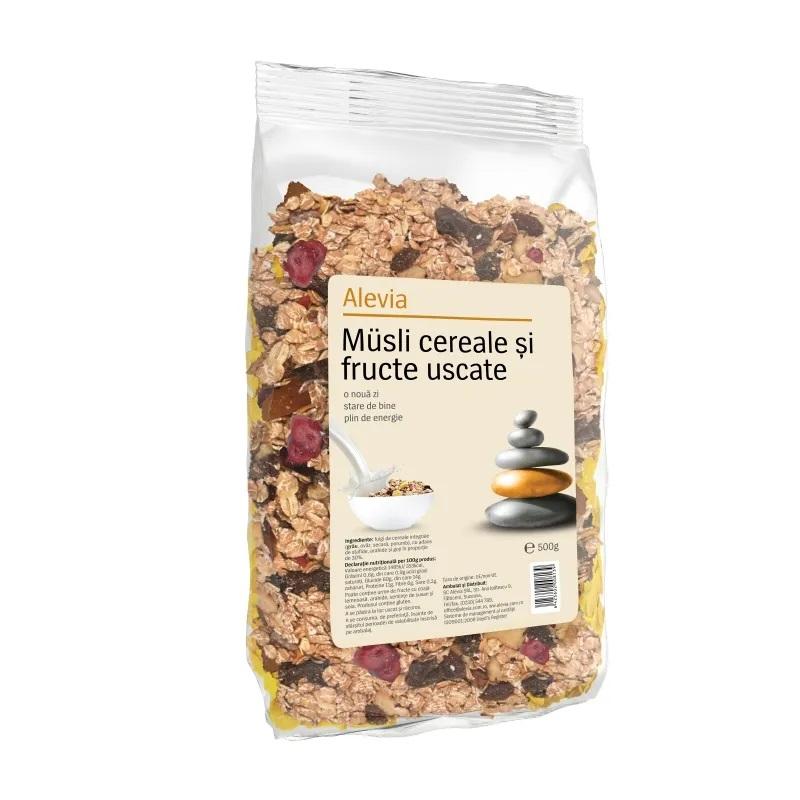 Musli cereale si fructe uscate, 500g, Alevia