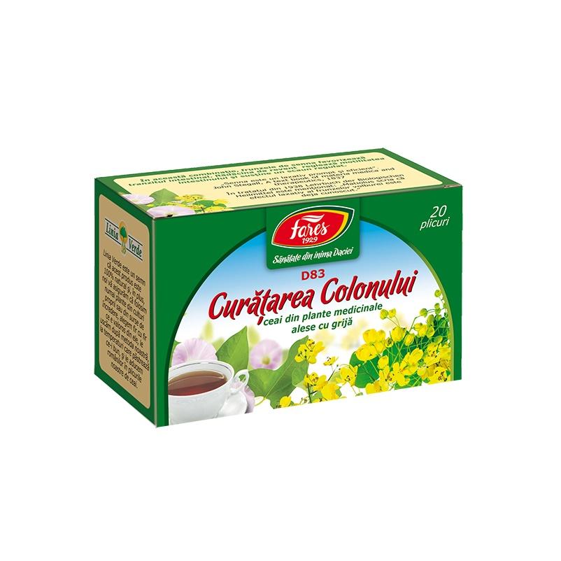 Ceai Curatarea Colonului, 20 plicuri, Fares drmax.ro