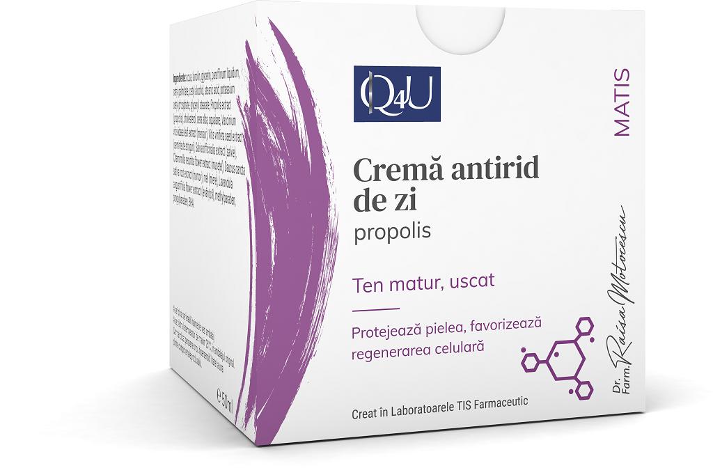 Crema antirid de zi cu propolis Q4U, 50ml, Tis Farmaceutic drmax.ro