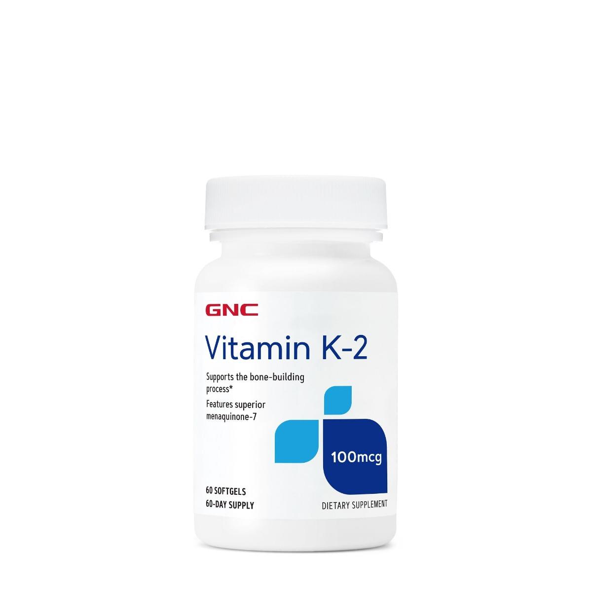 Vitamina K2 100Mcg, 60 capsule gelatinoase moi, GNC drmax poza